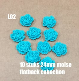 L02 10 stuks Moise 24mm flatback cabochon turquoise