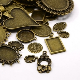 A32 Wholesale MIX | Bronze CABOCHON SETTINGS  100 pcs MIX