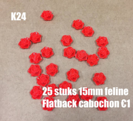 K24 25 stuks Feline 15mm flatback cabochon rood