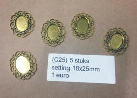 C25 5 stuks setting 18x25mm goud