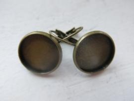 C21 Earring cabochon setting 16mm bronze 5 paar