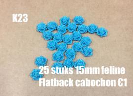 K23 25 stuks Feline 15mm flatback cabochon teal