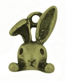 L65 Pendant | Peek-a-Boo Bunny 14x8mm | bronze (10pcs)