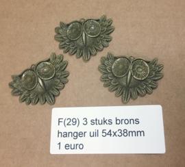 F29 3 stuks grote uil hanger setting 54x38mm