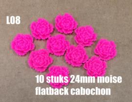 L08 10 stuks Moise 24mm flatback cabochon magenta