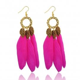 Miss Doris | BOHO feather IBIZA earrings Fuchsia