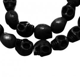 L49 Skull beads 12mm - black 100 stuks