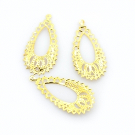 A02/2 NOORA | Teardrop Filigree | 38x19mm Gold | 100 stuks
