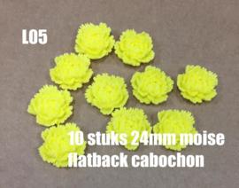 L05 10 stuks Moise 24mm flatback cabochon yellow