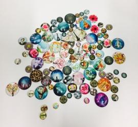 100 stuks glass cabochons PRINT MIX