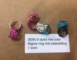 B39 8 stuks filigree ring setting MIX