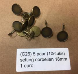 C26 5 paar setting oorbellen 18mm brons