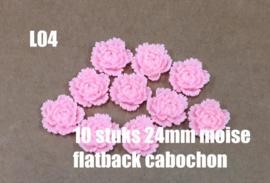 L04 10 stuks Moise 24mm flatback cabochon pink