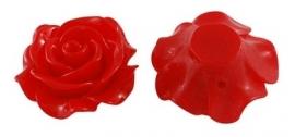 F10 BELA   Resin Flower Bead 28mm   RED 5 stuks