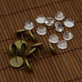 5 Pair | Ear stud + 10mm glass set | Bronze