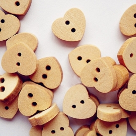 A29/4 Heart Wood buttons 13x15mm Burlywood 10 stuks