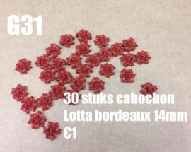 A22 100 stuks flatback cabochon Lotta bordeaux 14mm