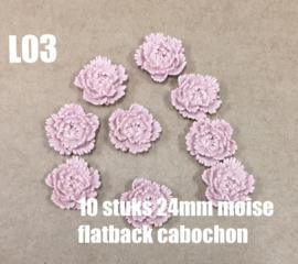 L03 10 stuks Moise 24mm flatback cabochon rosybrown