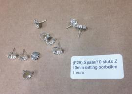E29 5 paar/10 stuks oorbellen settings 10mm Desiree zilver