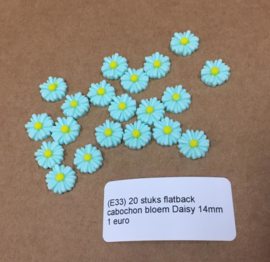 E33 20 stuks flatback cabochon bloem Daisy 14mm