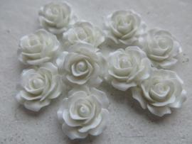 A16 Flatback cabochon resin rose | Roya WHITE 19mm 20 stuks