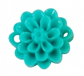 GIOIA | Resin flower connector 15mm | light sea green | 10pcs