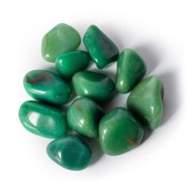 Groene Kwarts Aventurijn trommelstenen A kwaliteit knuffelsteen ±3-4cm in linnen kado zakje
