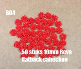 B04 50 stuks Reva 10mm flatback cabochon rood
