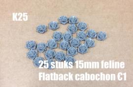 K25 25 stuks Feline 15mm flatback cabochon grijs