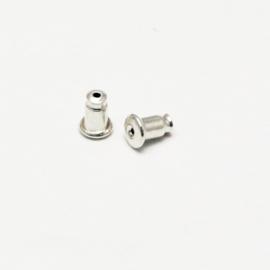 B18 Silvercolor earring - post / stopper achterkantje 50pcs