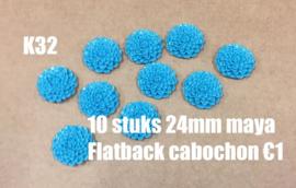 K32 10 stuks Maya 24mm flatback cabochon teal