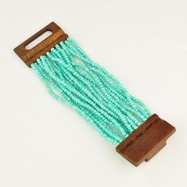 Miss Doris | handmade Aquamarine sead beads & wood bracelet