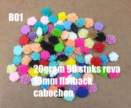 B01 20gram ±90 stuks Reva 10mm flatback cabochon mix