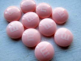 C15 Resin Candy M&M - 14mm PALE PINK (250 pcs)