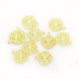 F34 NAILA | Flat Round Filigree | 15x13mm Gold | 100 stuks