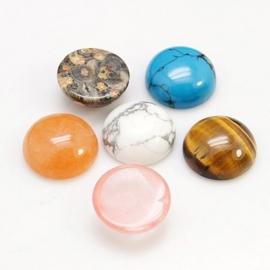 Gemstone Nature Cabochon 12mm mixed set of 20 pcs