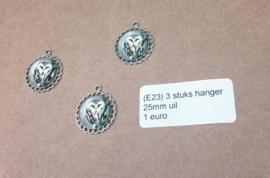 L213 3 stuks foto hanger 25mm owl zilver
