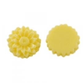 K20/1 JULIE | 14mm flower cabochon | YELLOW 30 stuks