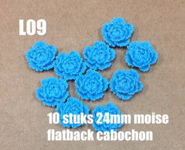 L09 10 stuks Moise 24mm flatback cabochon skyblue