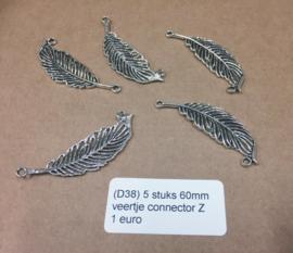 D38 5 stuks 60mm veer connector zilver
