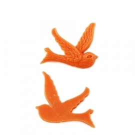 BIRD | cabochon | 22x24mm ORANGE (100 pcs)