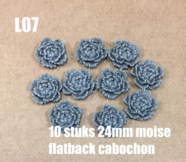L07 10 stuks Moise 24mm flatback cabochon grey