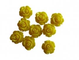 D16 Resin Cabochon - Sillis Flower 10mm Reva YELLOW 50 pcs