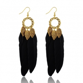 Miss Doris | BOHO feather IBIZA earrings Black