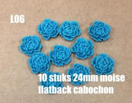 L06 10 stuks Moise 24mm flatback cabochon teal