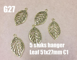 J22 5 stuks antique gold hanger leaf 51x27mm