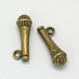 Hanger | Microphone bronze 21x7mm 10 stuks C32/1