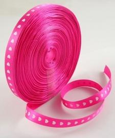 Satin Ribbon | Pink Hearts | 10mm (45 meter)