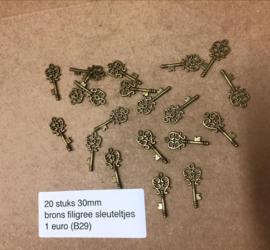B29 20 stuks filigree sleuteltjes