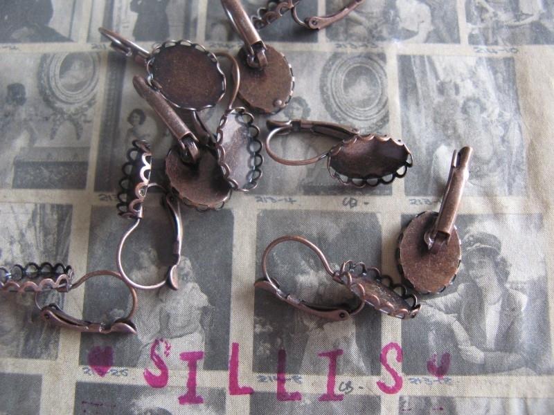 J24 Oorbellen hangers Cameo frame - 10x14mm Antique Copper 5 paar